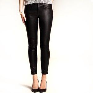 Banana Republic sloan leather skinny  zipper pants